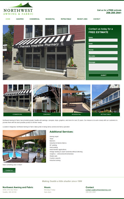 screenshot awning company website