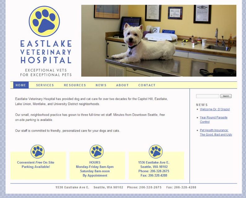 Eastlake Vet Hospital website