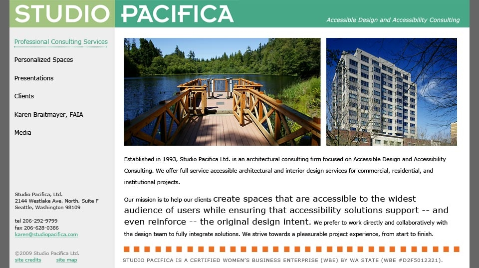 Studio Pacifica accessibility consulting website