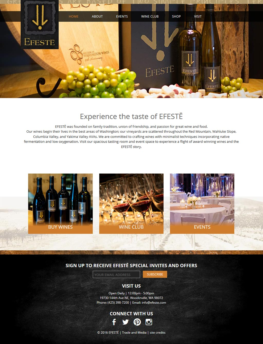 screenshot winery website