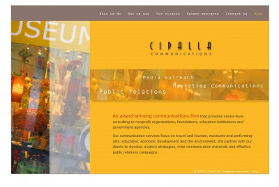 screenshot Cipalla Communications website