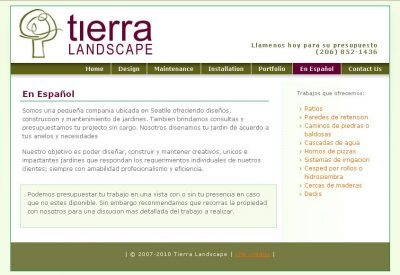 screenshot Tierra Landscape Design