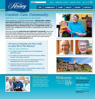 screenshot The Kenney retirement community
