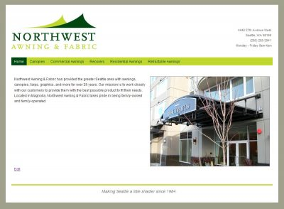 screenshot Northwest Awning & Fabric website