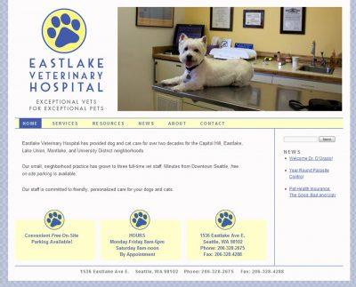 screenshot Eastlake Vet Hospital website