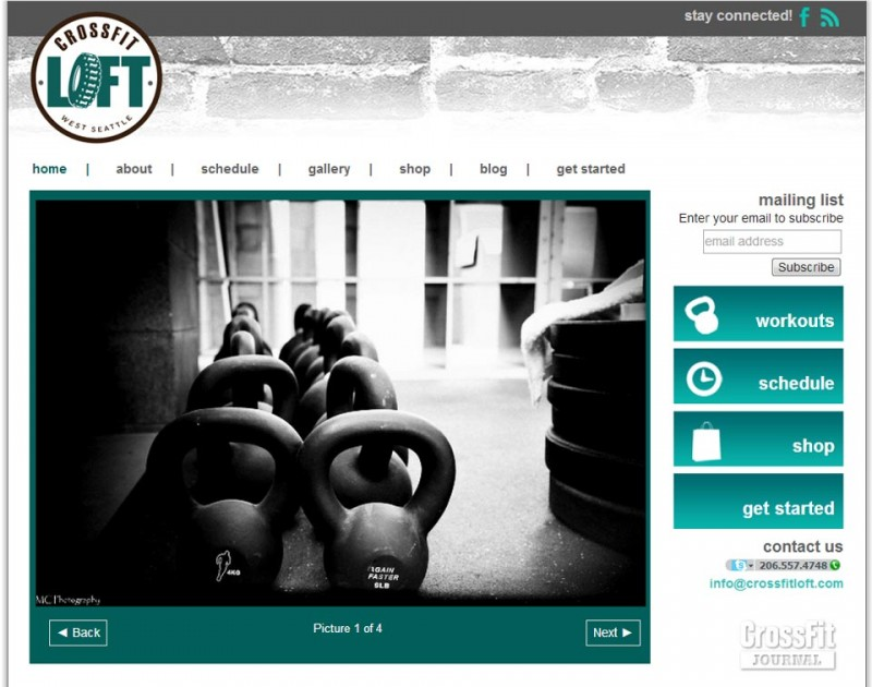 screenshot CrossFit LOFT website