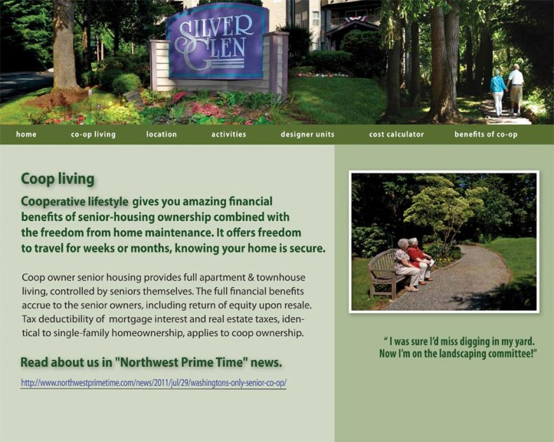 screenshot Silver Glen retirement community website