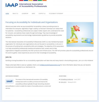 screenshot of International Association of Accessibility Professionals
