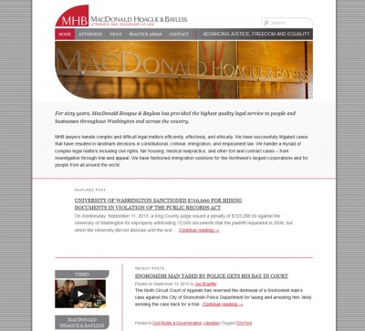 screenshot of MacDonald Hoague & Bayless attorney website