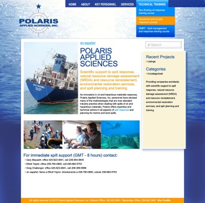 bilingual WordPress website for Polaris Applied Sciences