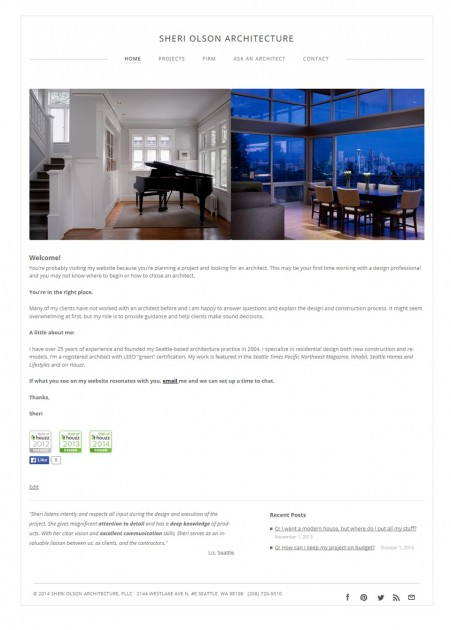 screenshot of architect's website