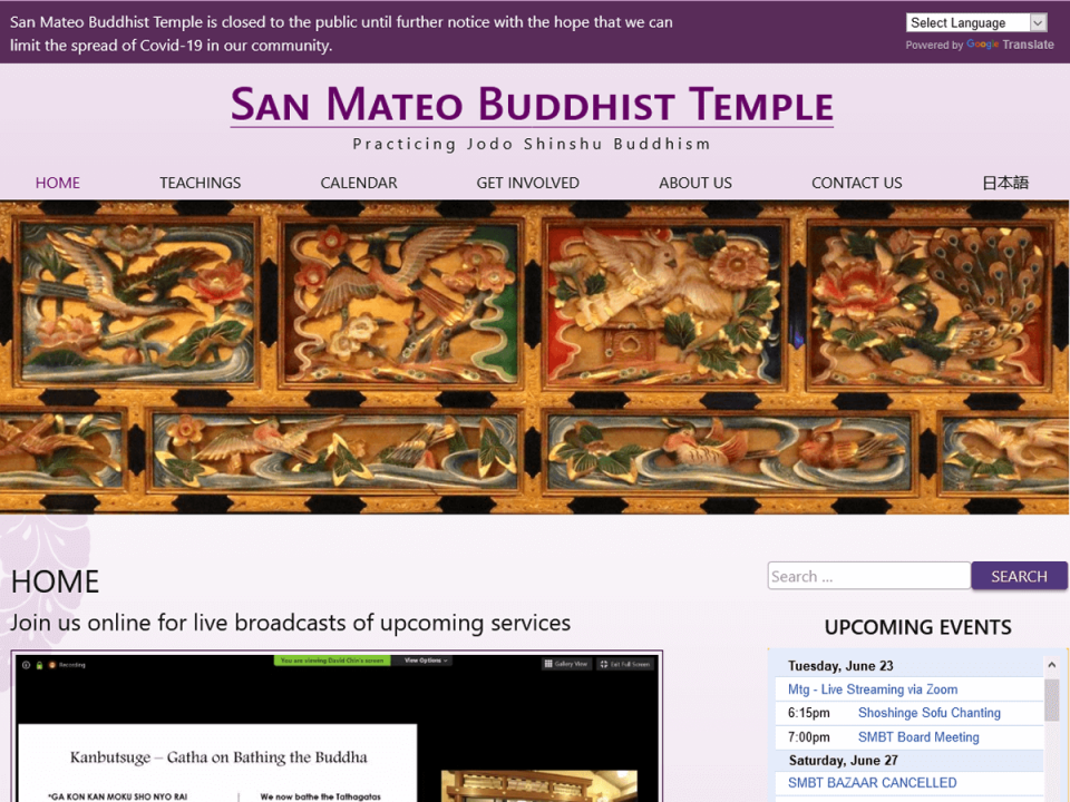 San Mateo Buddhist Temple website screenshot