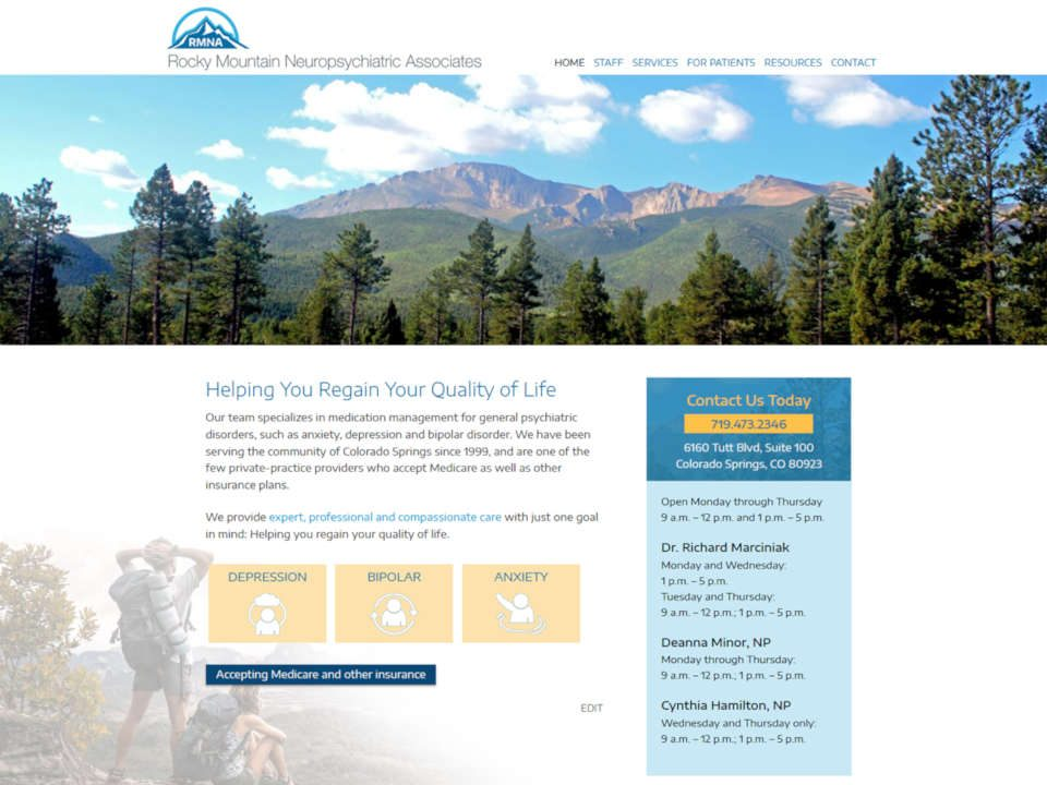 screenshot Colorado psychiatrists website