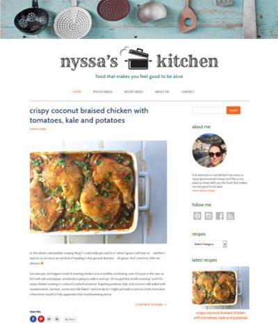 Food blog screenshot