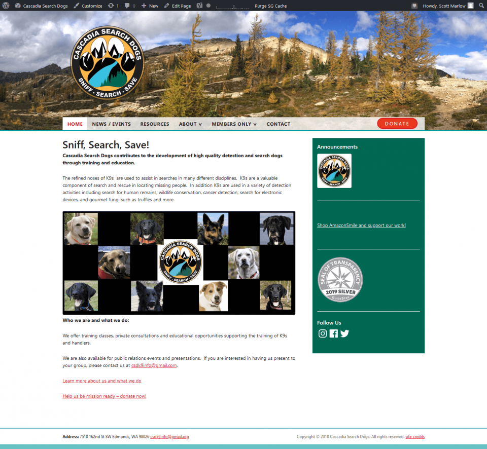 screenshot Cascadia K9 Search Dogs website