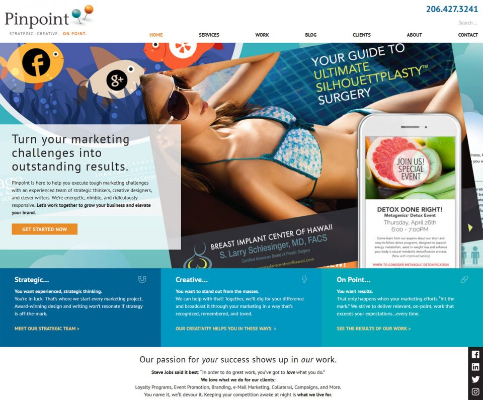 Pinpoint Strategic Communications marketing firm screenshot
