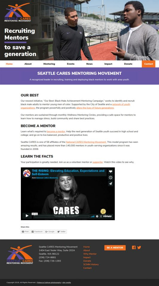 Seattle CARES Mentoring website screenshot