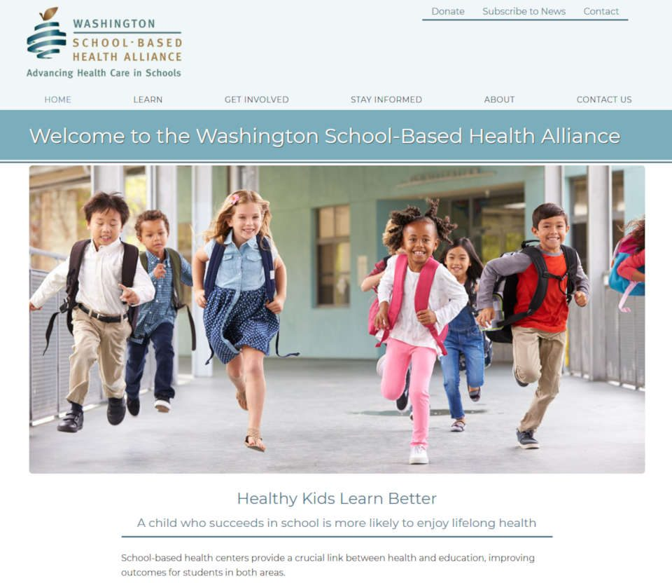 screenshot Washington School-based health website