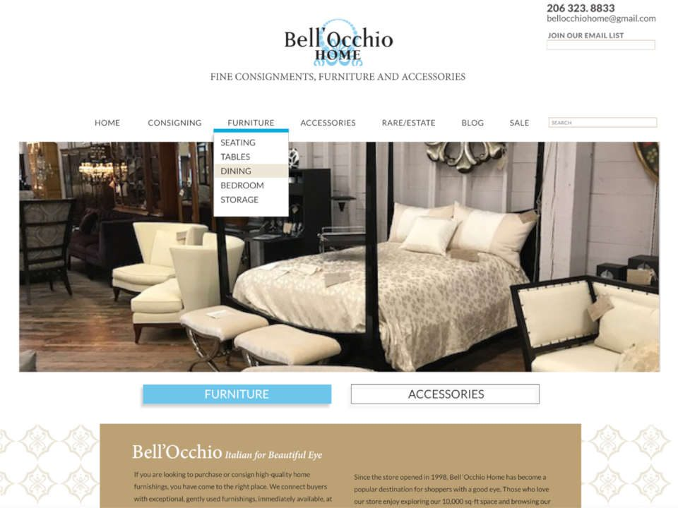 screenshot Seattle home consignment store website