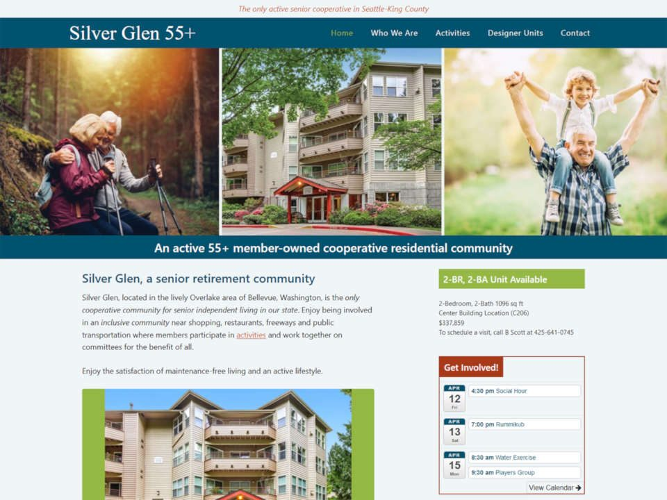 screenshot Silver Glen senior cooperative website