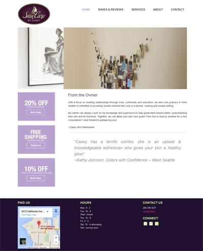 skincare clinic website